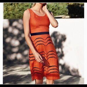 NWT Boden Orange Embroidered Linen Dress Summer